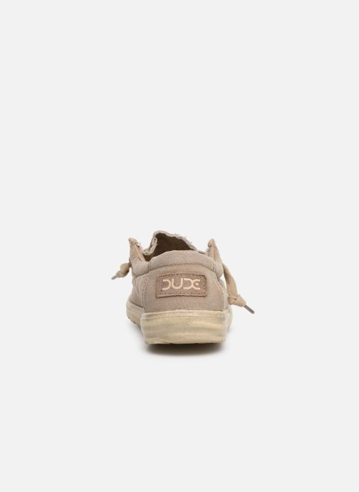 Baskets DUDE Wally Washed Marron vue droite