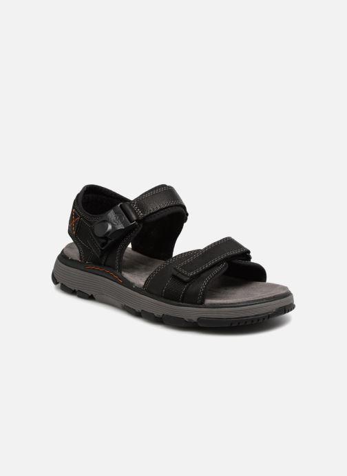 Details about Mens Clarks Un Trek Part Black Or Dark Tan Leather Casual Strapped Sandals