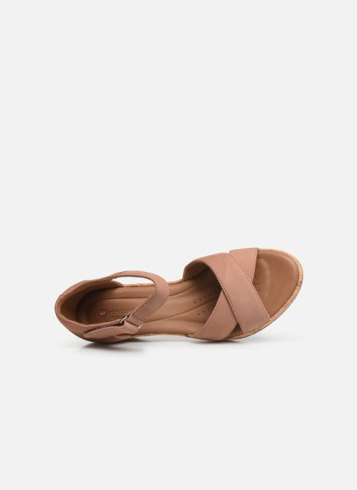 Sandals Clarks Unstructured Un Plaza Cross Pink view from the left