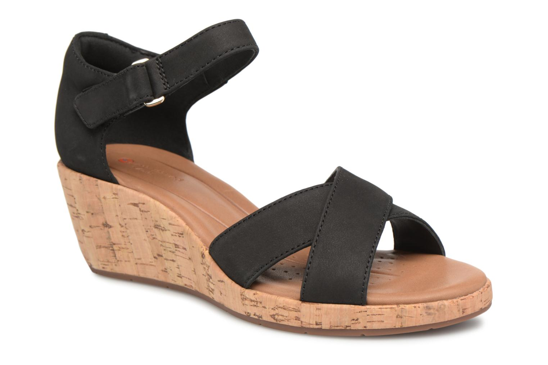 Sandales et nu-pieds Clarks Unstructured Un Plaza Cross Noir vue détail/paire