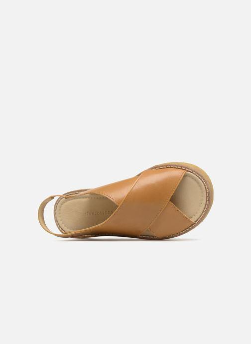 Sandalias Tinycottons Crepe cross sandals Marrón vista lateral izquierda