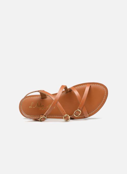 Sandales et nu-pieds L'Atelier Tropézien Louise Marron vue gauche