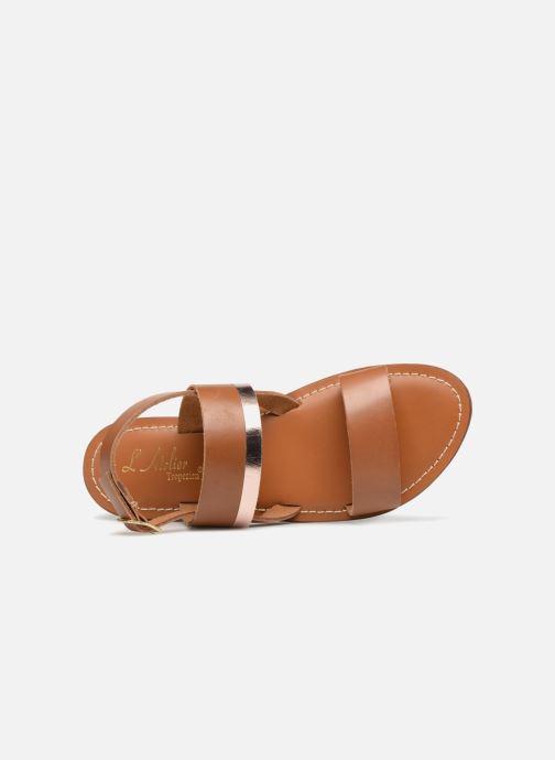 Sandales et nu-pieds L'Atelier Tropézien Mila Marron vue gauche