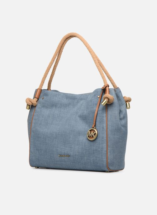 Sacs à main Michael Michael Kors Isla LG Grab Bag Bleu vue portées chaussures