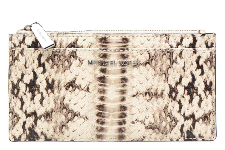 Marroquinería pequeña Michael Michael Kors LG Slim Cardcase Beige vista de detalle / par