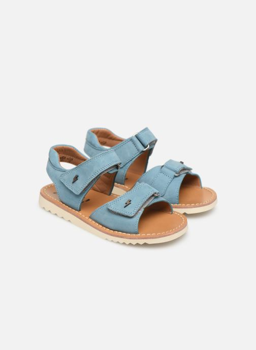Sandales et nu-pieds Pom d Api Waff Easy Bleu vue 3/4