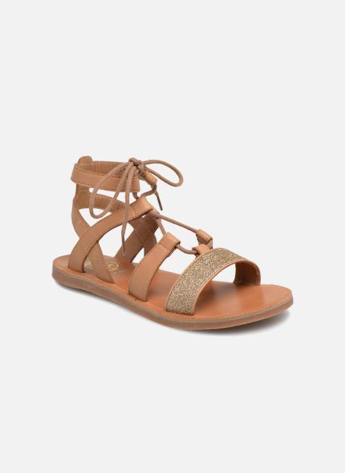 Sandales et nu-pieds Pom d Api Plagette Diana Marron vue détail/paire