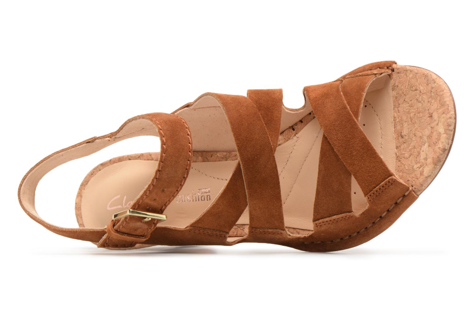 Sandals Clarks Spiced Ava Brown view from the left