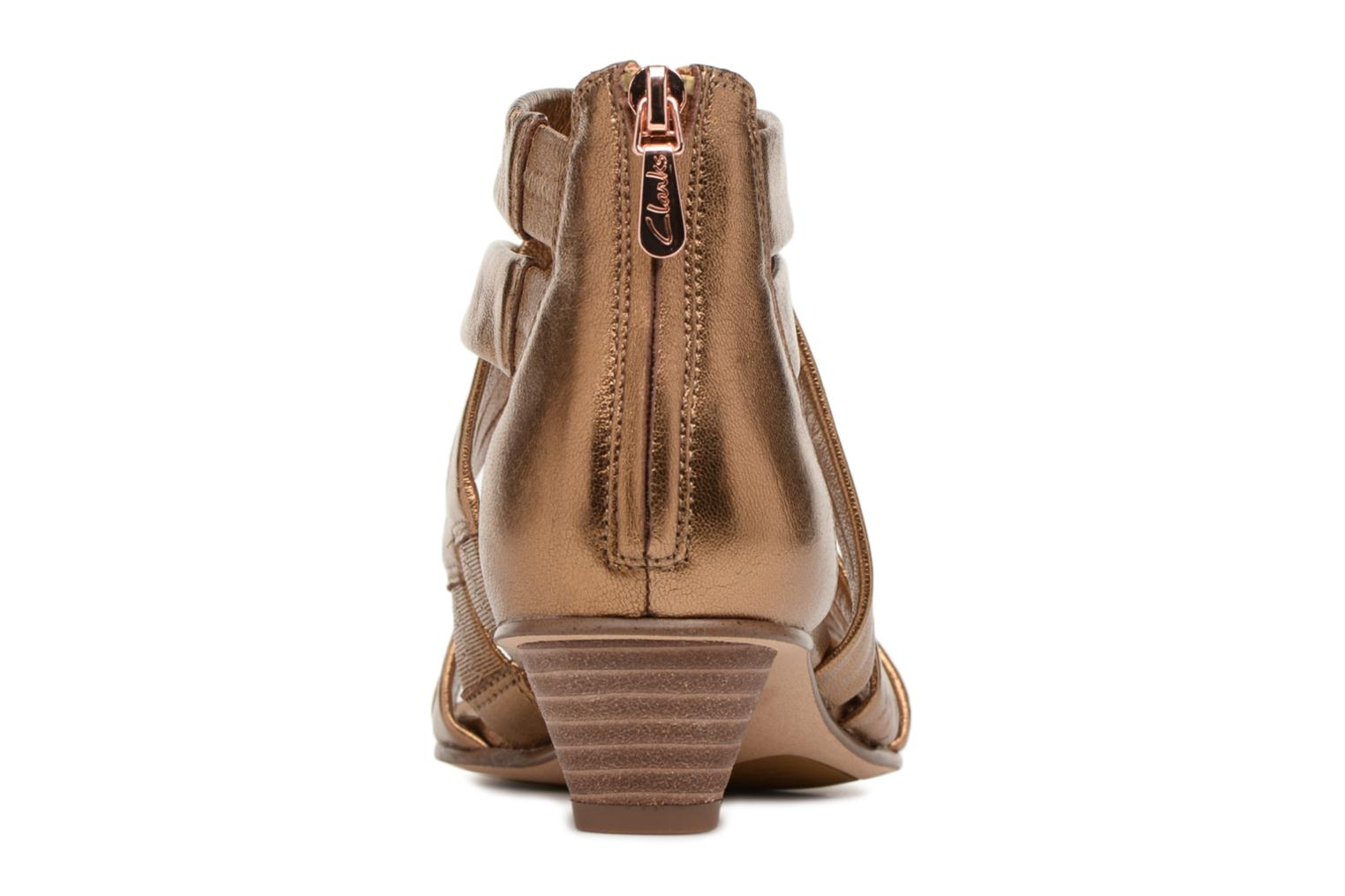 Sandals Clarks Mena Silk Bronze and Gold view from the right