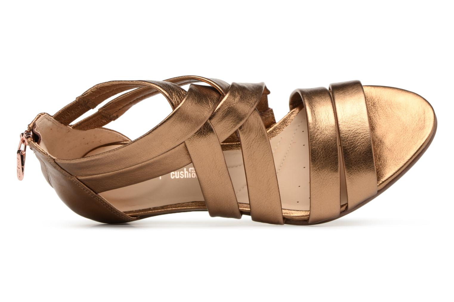 Sandals Clarks Mena Silk Bronze and Gold view from the left