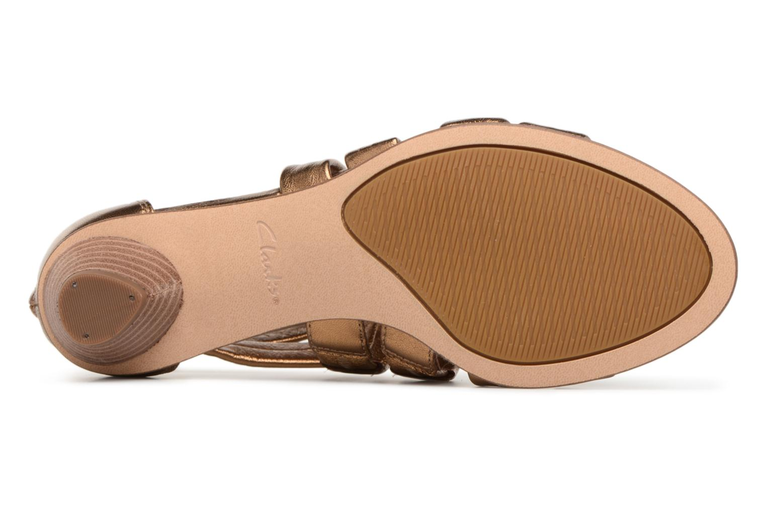 Sandals Clarks Mena Silk Bronze and Gold view from above