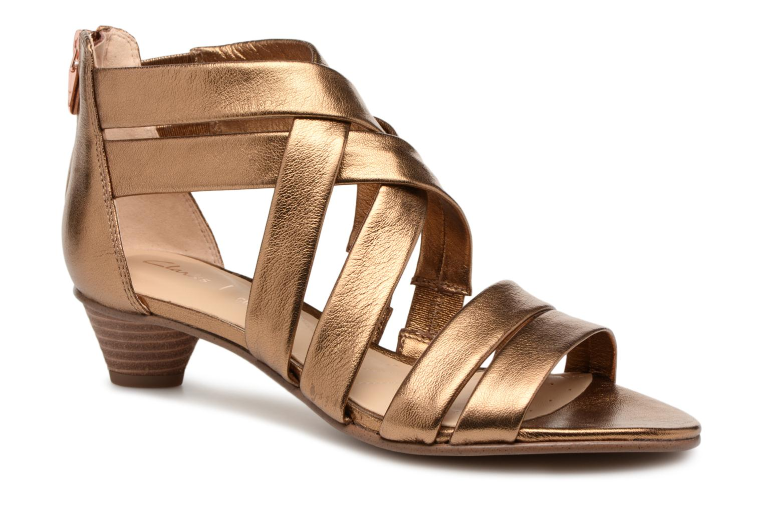 Sandals Clarks Mena Silk Bronze and Gold detailed view/ Pair view