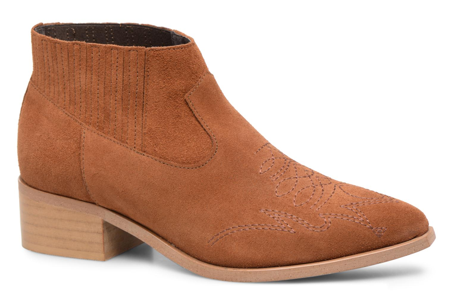 Ankle boots Vero Moda TOBIA LEATHER BOOT Brown detailed view/ Pair view