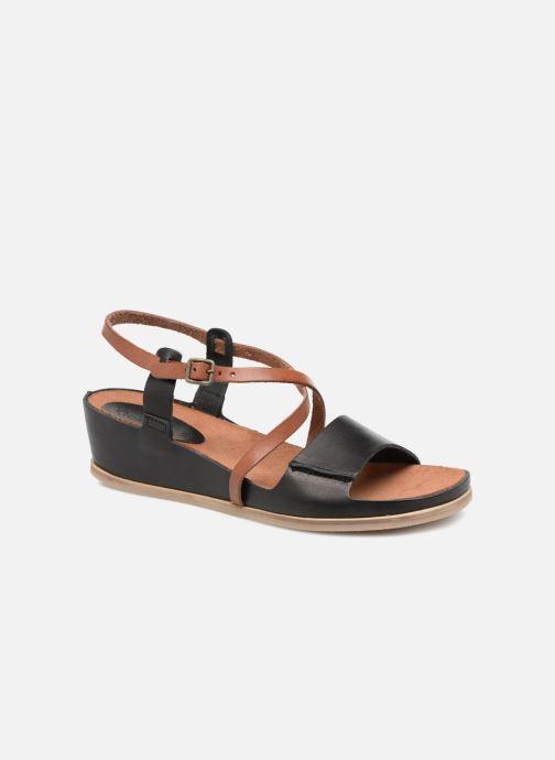 Dam Skor Kickers TAHITI Svart Kamel Sandaler Läder