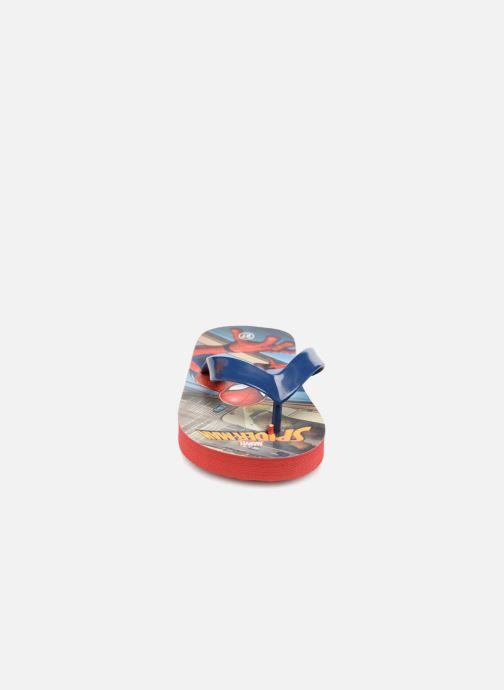 Tongs Spiderman Dispo Bleu vue portées chaussures