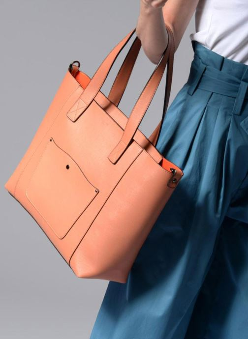 Sacs à main Hexagona Cabas zippé Rivieria Orange vue bas / vue portée sac