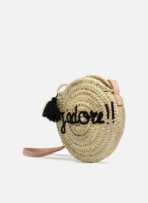 Handtaschen Etincelles Sac rond bandoulière + texte J'adore! noir beige schuhe getragen