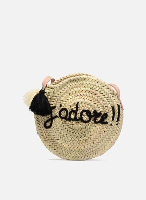 Handtaschen Etincelles Sac rond bandoulière + texte J'adore! noir beige detaillierte ansicht/modell