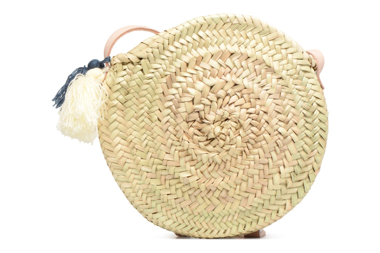 Handtassen Etincelles Panier rond bandoulière + Pompons Beige detail