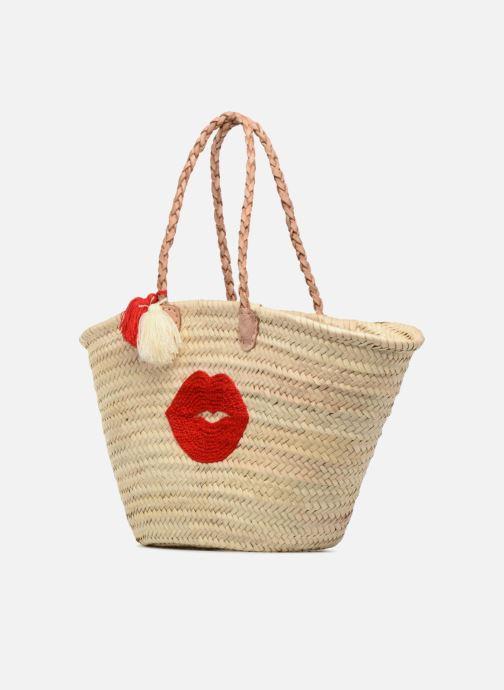 Borse Etincelles Panier motif bouche rouge Beige modello indossato