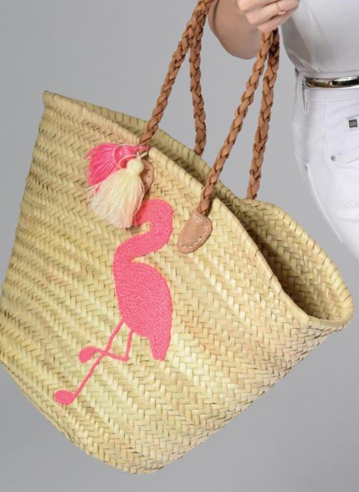 Handbags Etincelles Panier Flamant Rose Beige view from underneath / model view