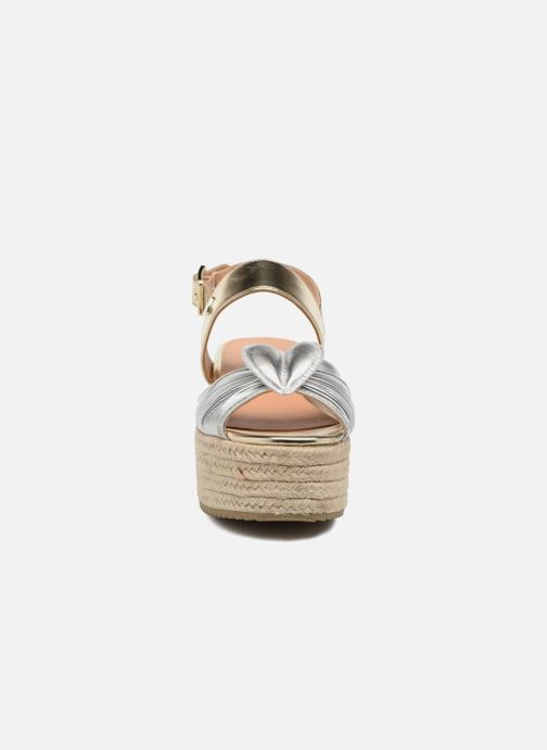 Sandales et nu-pieds Love Moschino Love Gold Or et bronze vue portées chaussures