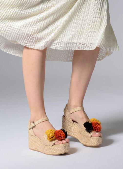 Sandalen Sixty Seven Pompom beige ansicht von unten / tasche getragen