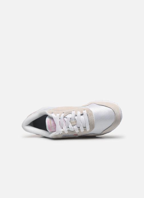 Baskets Reebok CL nylon Blanc vue gauche