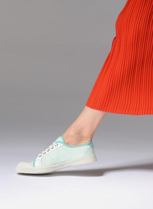 Trainers Bensimon Fines Rayures Green view from underneath / model view
