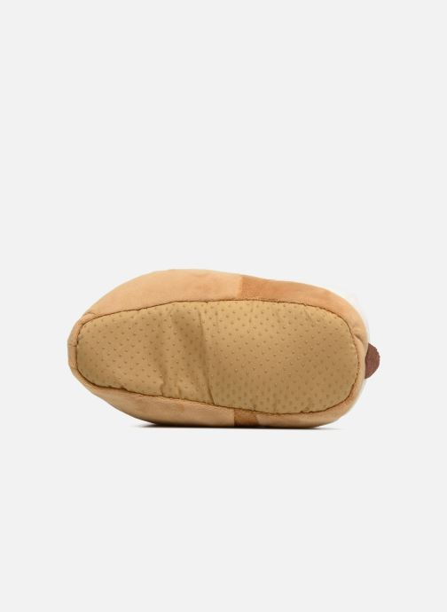 Slippers Sarenza Wear Chaussons Enfant Chien Brown view from above