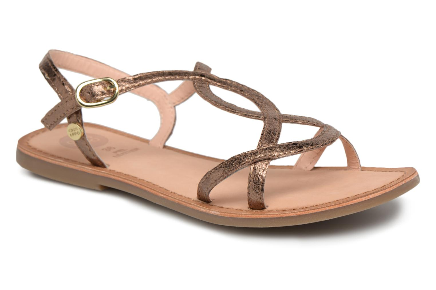 Sandals Gioseppo Soraya Bronze and Gold detailed view/ Pair view