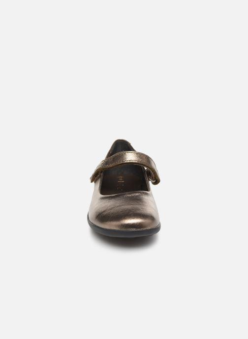Ballerines Kickers Ambellie Or et bronze vue portées chaussures