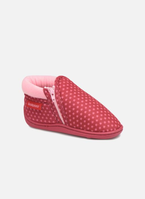 Slippers Isotoner Botillon Zip Suédine Pink detailed view/ Pair view