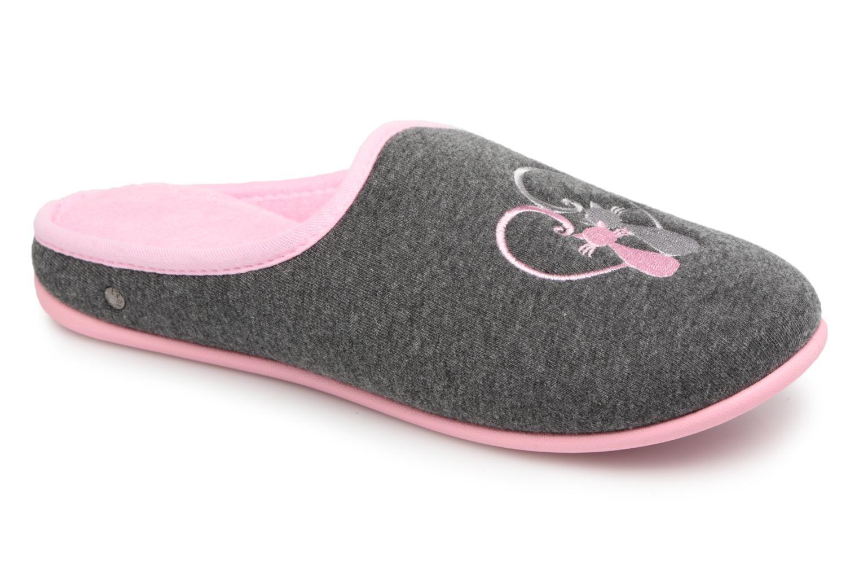 Chaussons Isotoner Mule confort + jersey broderie chat Gris vue détail/paire