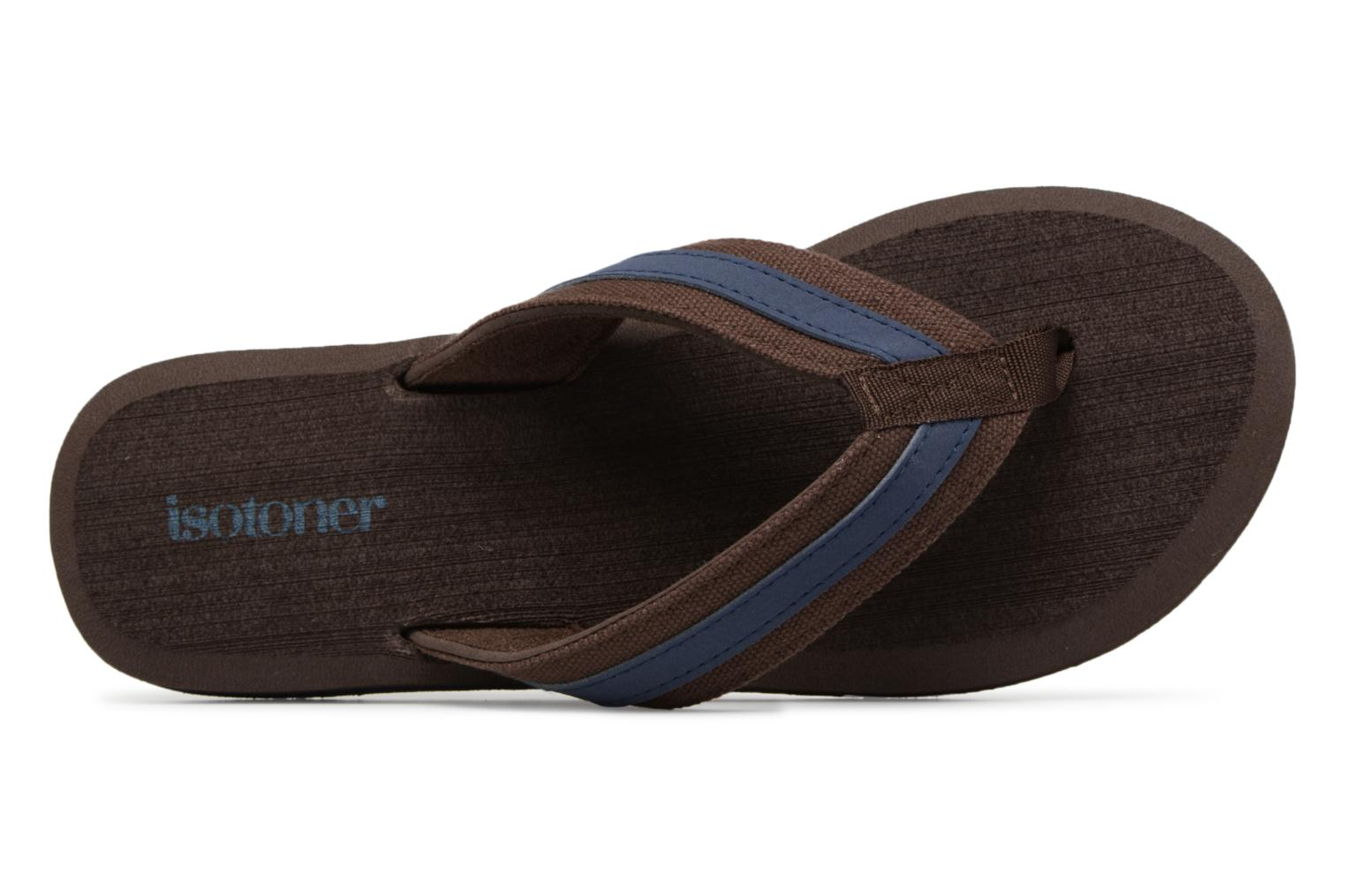 Flip flops Isotoner Tong Yoga confort Brown view from the left