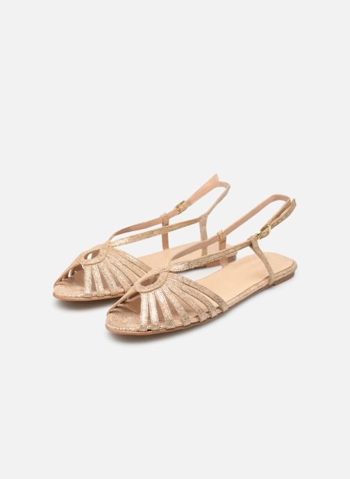 Sandals Jonak DISCUT Bronze and Gold view from underneath / model view