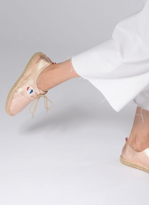 Espadrilles 1789 CALA Riviera Leather Metal Bronze and Gold view from underneath / model view