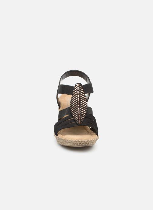 Sandalen Rieker Nayeli schwarz schuhe getragen