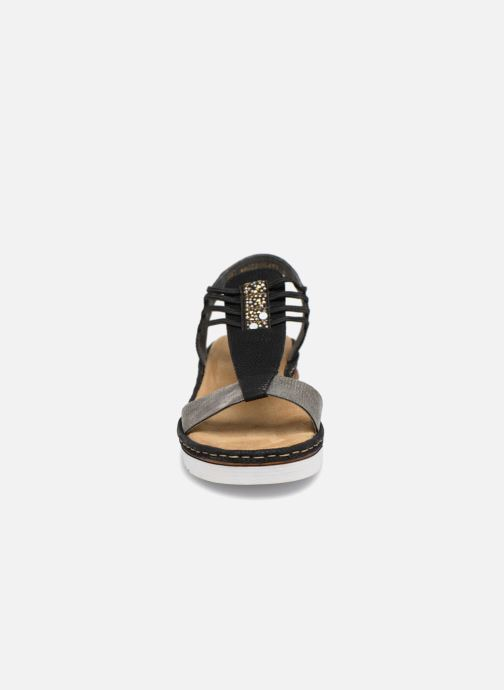 Sandalen Rieker Olivia 679L1 schwarz schuhe getragen