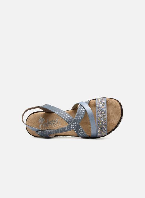 Sandalen Rieker Sienna V3663 Blauw links