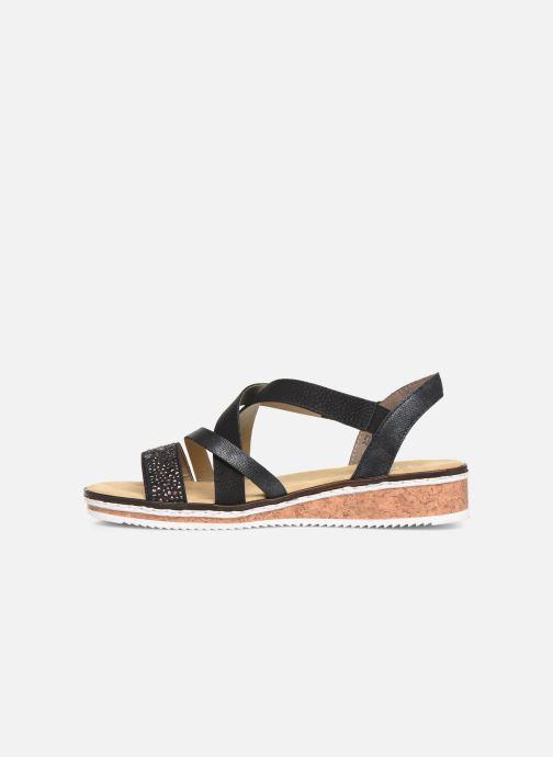 Sandales et nu-pieds Rieker Sienna V3663 Noir vue face