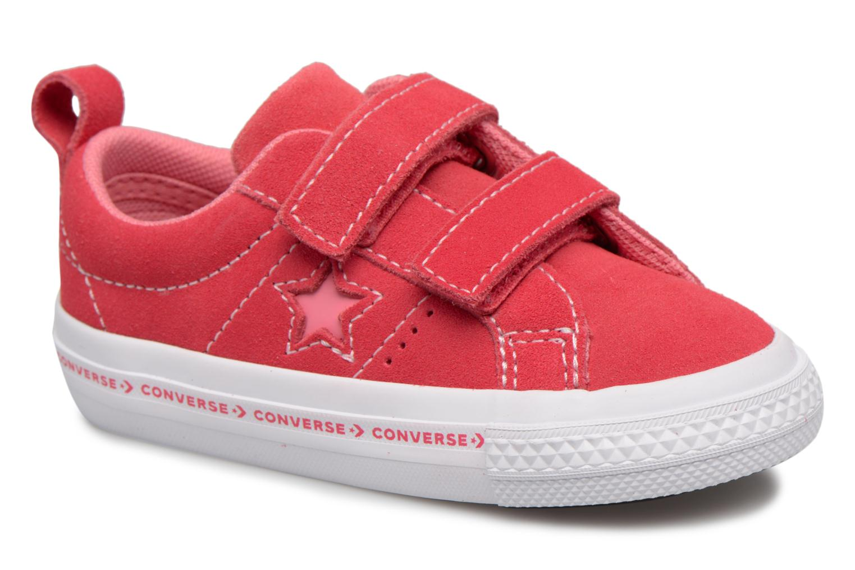 24c70eb86683 Baskets Converse One Star 2V Ox Converse Wordmark Suede Rose vue détail  paire