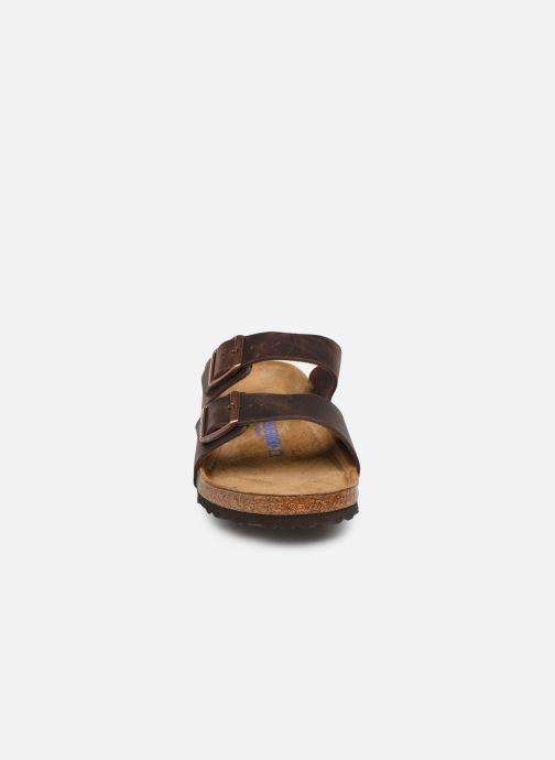 Sandalen Birkenstock Arizona Cuir Soft Footbed M braun schuhe getragen