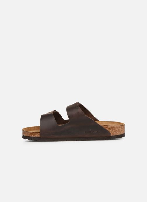 Sandales et nu-pieds Birkenstock Arizona Cuir Soft Footbed M Marron vue face