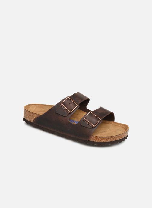 Sandales et nu-pieds Birkenstock Arizona Cuir Soft Footbed M Marron vue détail/paire