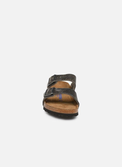 Sandalen Birkenstock Arizona Cuir Soft Footbed M grau schuhe getragen