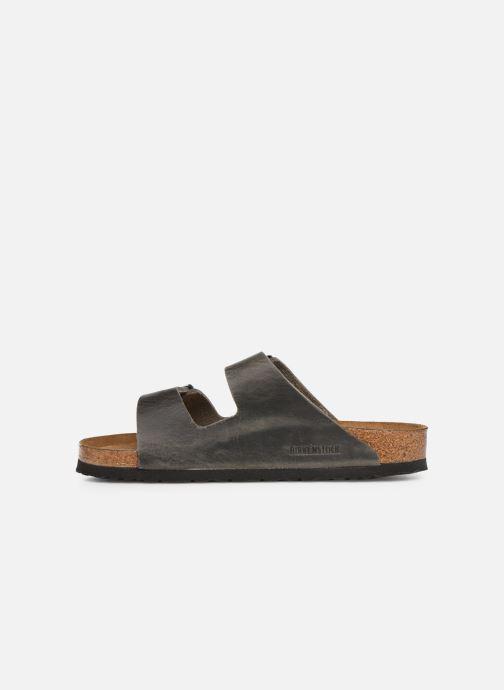 Sandalen Birkenstock Arizona Cuir Soft Footbed M grau ansicht von vorne