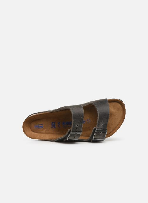 Sandals Birkenstock Arizona Cuir Soft Footbed M Grey view from the left