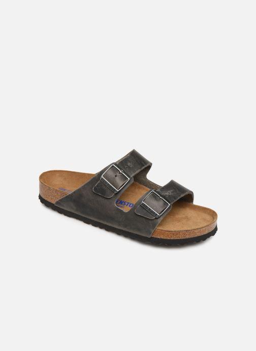 Sandals Birkenstock Arizona Cuir Soft Footbed M Grey detailed view/ Pair view