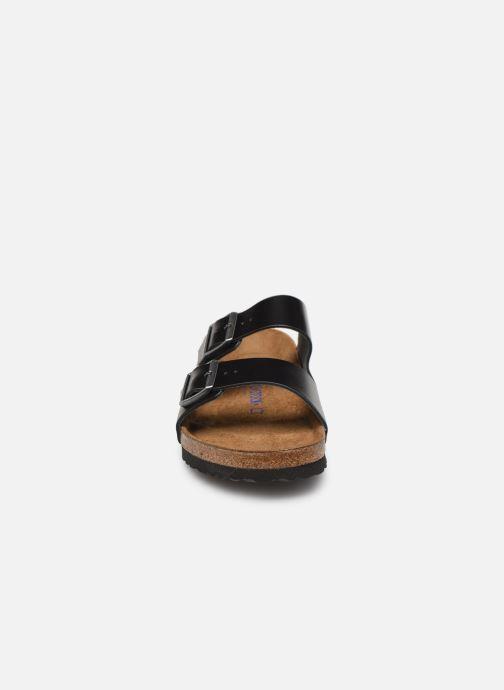 Sandales et nu-pieds Birkenstock Arizona Cuir Soft Footbed M Noir vue portées chaussures